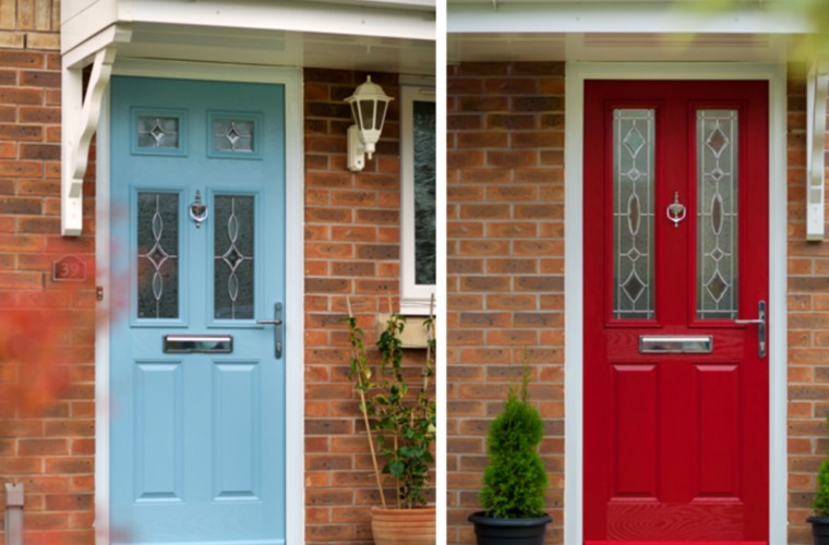 light-blue-and-bright-red-front-doors