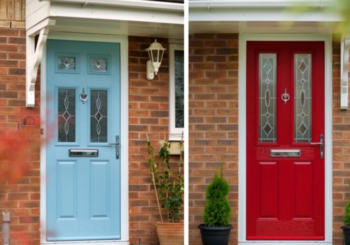 red and blue front doors in somerset